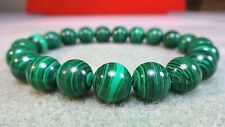 """Genuine MALACHITE bead bracelet for MEN (On Stretch) AAA Quality 10mm - 8"""" inch"""