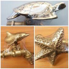 Set Brass Garden Dolphin Star Fish Turtle Spigot Tap Faucet Vintage Water Decor