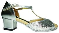 MONDIAL SHOES 01 scarpe da ballo donna bambina tacco 40/B basse lucide argento