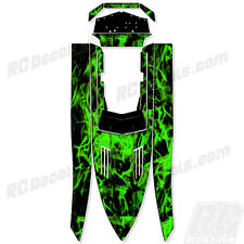 """PRO BOAT SHOCKWAVE 36 """"Green Flames"""" GRAPHICS FITS OEM HULL PARTS DECAL WRAP KIT"""