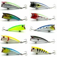 Lot 10pcs Fishing Lure Popper Lure top water Fish Tackle magician wobblers 6cm