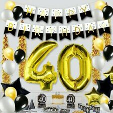 Party : Happy Birthday Letter Banner Party Decor Black & White Gold Letter