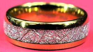 Ring Gold Tungsten Carbide Men's Women's Wedding Band Meteorite Inlay 8 mm
