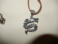 Pendant - Powerful Silver Plated Dragon on Soft Brown Leather Cord