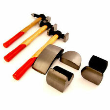 BODY PANEL REPAIR TOOL KIT 7PC CAR AUTO WITH WOODEN HANDLES BEATING HAMMERS NEW