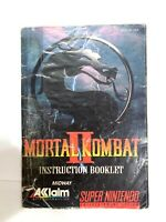 MORTAL KOMBAT II 2 Super Nintendo SNES Original Instruction Manual Booklet Book