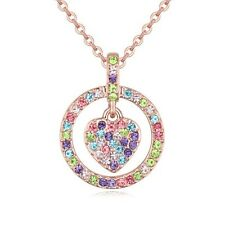 18K ROSE GOLD PLATED & GENUINE MULTI-COLOURED AUSTRIAN CRYSTAL HEART NECKLACE