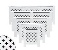White Radiator Cover Cabinet Wood MDF Traditional Cross Design Modern Adjustable