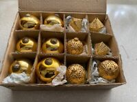 Rare Antique Kugel - Set of 6 Gold Christmas Ornaments +6 W German Hand Crafted