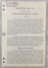 1938 Antique John Deere Bulletin / Announcing New No 9 Combine