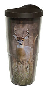 TERVIS 24oz Tumbler Clear Cup Deer Buck Hunting made in USA Brown Lid