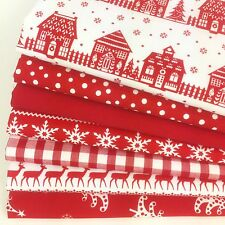 POLYCOTTON CHRISTMAS fabric fat quarter red xmas mix (no.4)