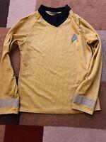 STAR TREK TOS Captain's Uniform Shirt Costume Adult S 2009 Cos-Play Gold Yellow