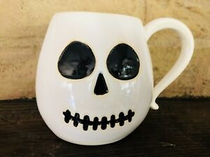 Pottery Barn Halloween Skeleton Mug Coffee Cup Tea New in Box Decor Ceramic