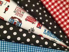 Fat Quarters Bundles LONDON TOWN Sew Dressmaking Fabric Craft Bunting Gingham