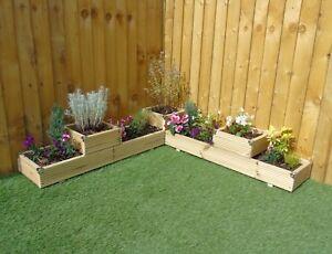 Large 2 Tier Corner Castle Wooden Decking Patio Planter Trough Display