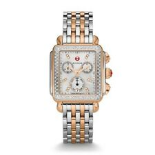 NEW MICHELE SIGNATURE DECO TWO TONE ROSE GOLD DIAMOND LADIES WATCH MWW06P000232