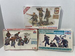 C052- Mixed 1/35 Scale Military Figures- German, & Sappers Unit & U.S. 82nd Air