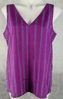 Armani Exchange Women's Top Size XL Purple Stripe Sleeveless V-Neckline