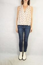 ZARA Woman Beige Printed Blouse Top Size M (10-12)