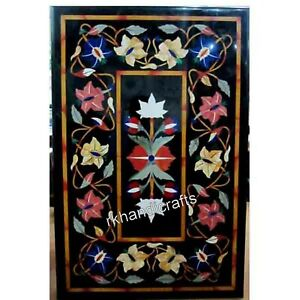 24 x 36 Inches Floral Pattern Inlay Coffee Table Top Marble Elegant Patio Table