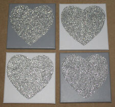 Set of 4 Light Grey / Dark Grey & Silver Glitter Heart Canvas Wall Art Pictures