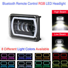 "2x DOT 4x6""Bluetooth Remote Control RGB LED Cree DRL Headlight Lamp Projector H4"