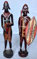 "African Masaai Kenya Hand Carved Wooden Man & Woman Statues Figures 11 1/2""-12"""