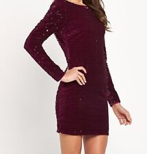 BNWT Lipsy All Over Sequin Dark Red Bodycon Dress Size 10 RRP £82