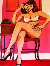 BETTY PAGE PAINTING sexy busty pin up legs high heels lingerie cigar telephone