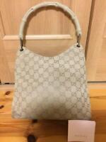 Auth Gucci Handbag Tote Bag GG Canvas Monogram USED Bamboo White Purse G0615