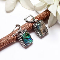 ABALONE SHELL GEMSTONE 925 STERLING SILVER PLATED LEVER BACK WOMENS EARRINGS #03