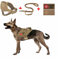 Service Tactical Dog Vest Mlitary Police K9 Working Harness W/2 Patches/Leash