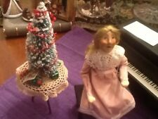 BYERS CHOICE  NUTCRACKER LOUISE WITH  PIANO 1st EDITION 1995+Table & Xmas Tree