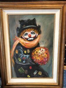 Ozz  Franca Large original oil on canvas.  Sad eye clown Vintage 60's