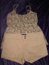 Womens Juniors Size 4 Small American Eagle Outfitters Massimo Tan Beige Outfit