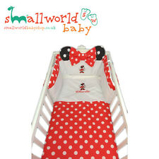 Personalised Red Polka Dot Minnie Mouse Cot Cotbed Bedding (NEXT DAY DISPATCH)