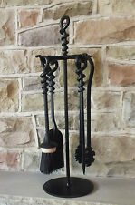 Hand Forged Fire Place Companion Set 5 PCE Black - Poker Tongs Spiral Eye 500mm