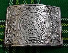 New Men's Scottish Kilt Belt Buckle Lion Rampant Chrome/Thistle Kilt Belt Buckle
