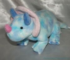 """2005 TY PLUFFIES Baby Plush Blue Tie Dye 13"""" TROMPS The TRICERATOPS Dino Lovey"""