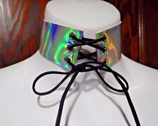 SILVER HOLOGRAPHIC CORSET CHOKER hologram prism rainbow wide band necklace 6D