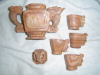 CHINESE CARVED STONE TEA SET VERY OLD IN MINT CONDITION