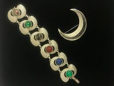 Vintage Sarah Coventry Silvertone Bracelet & Brooch ESTATE JEWELRY