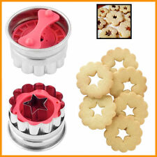 Flower & Star Plunger Cookie Cutter 50mm SS Biscuit Shortbread Baking Fancy Tool