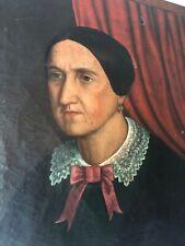 Antico quadro -Olio su tela -Ritratto donna - fine '800