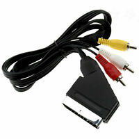 1.5m Scart to 3 RCA Phono Male Cable Plug Composite AV Audio Video For TV/DVD