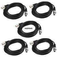 25ft 3pin 5 Pack xlr male to female MIC Shielded Cable Audio Cord f/Microphone