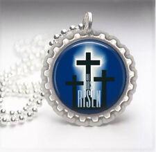 Cross Silver Bottle Cap Necklace 1