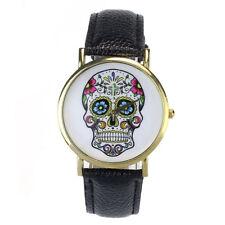 Women Men Punk Skull Analog Watch Leather Band Quartz Wrist Watch Lovers Gift