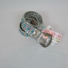 "Jenny Syquia Charm Luck 1.5"" Wide Silver Belt Turquoise and Rhinestones 45"""